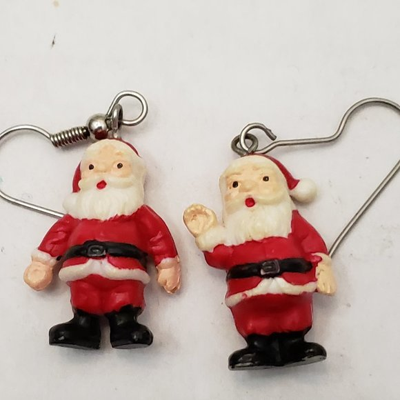 Jewelry - Dangle Hook Santa Claus Christmas Small  Earrings